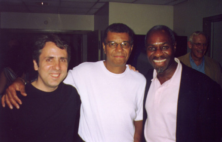 Photo of Harry Miller with Jack DeJohnette and Jerome Harris backstage at Carnegie Hall