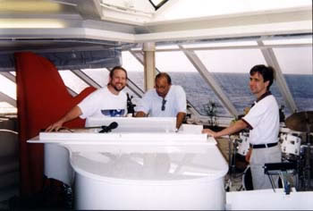 Photo of Harry Miller with Rennie Kaufmann and Quincy Jones onboard the Seabourn Pride